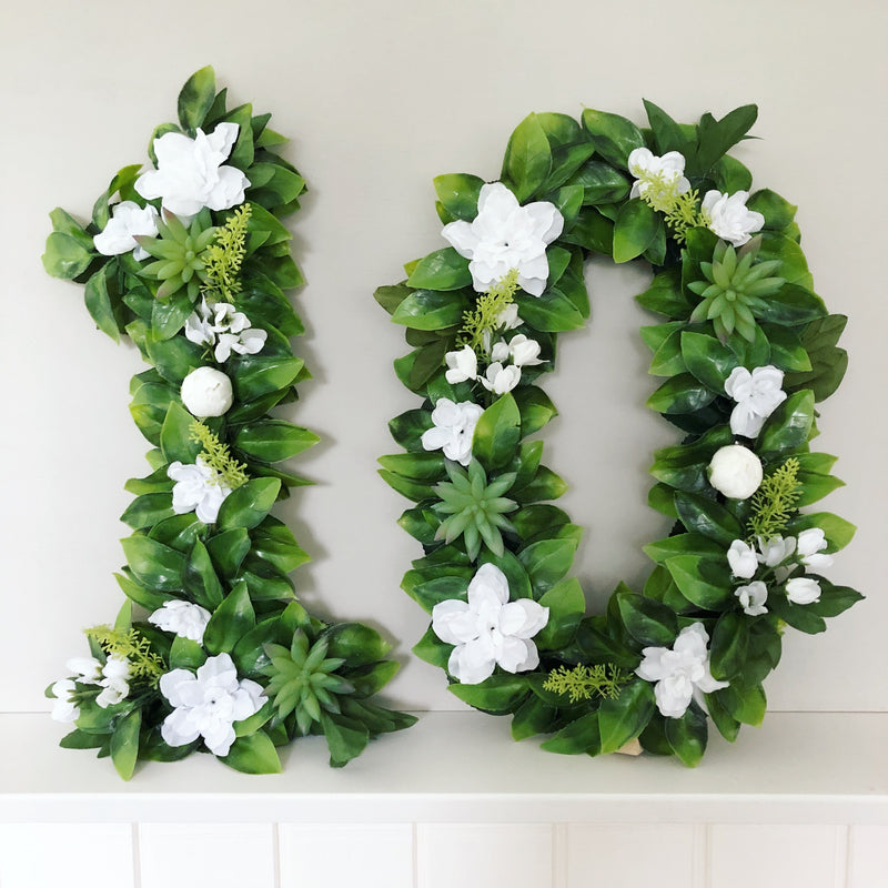 boho birthday decor greenery number