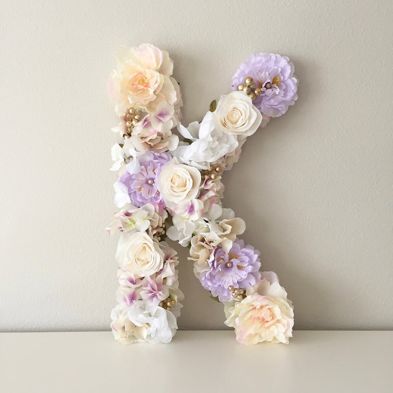 lavender nursery decor gold nursery floral letter baby shower floral theme