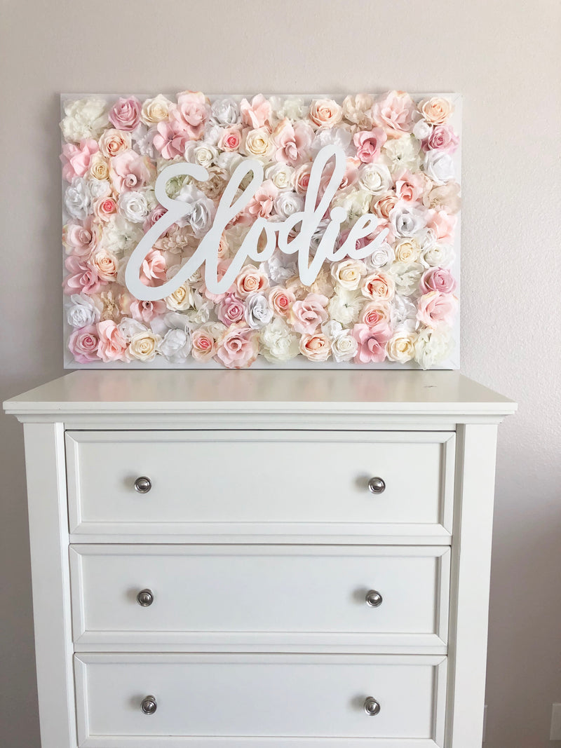 blush nursery blush wall art blush decor flower wall nursery decor girl nursery decor name sign