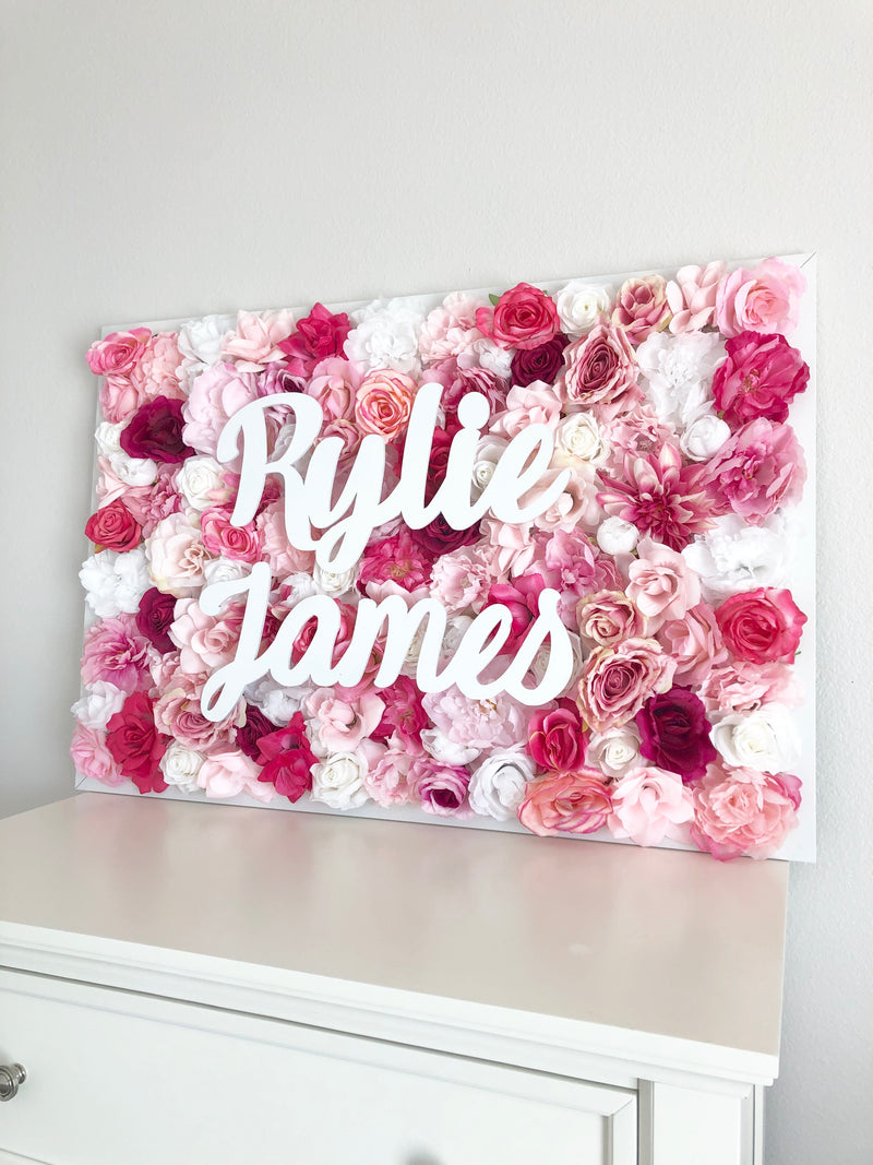 pink baby shower decor flower wall nursery decor girl nursery decor name sign