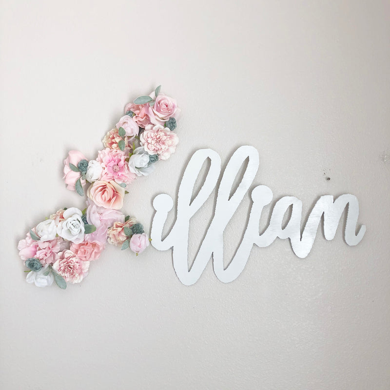 flower name sign wooden name art