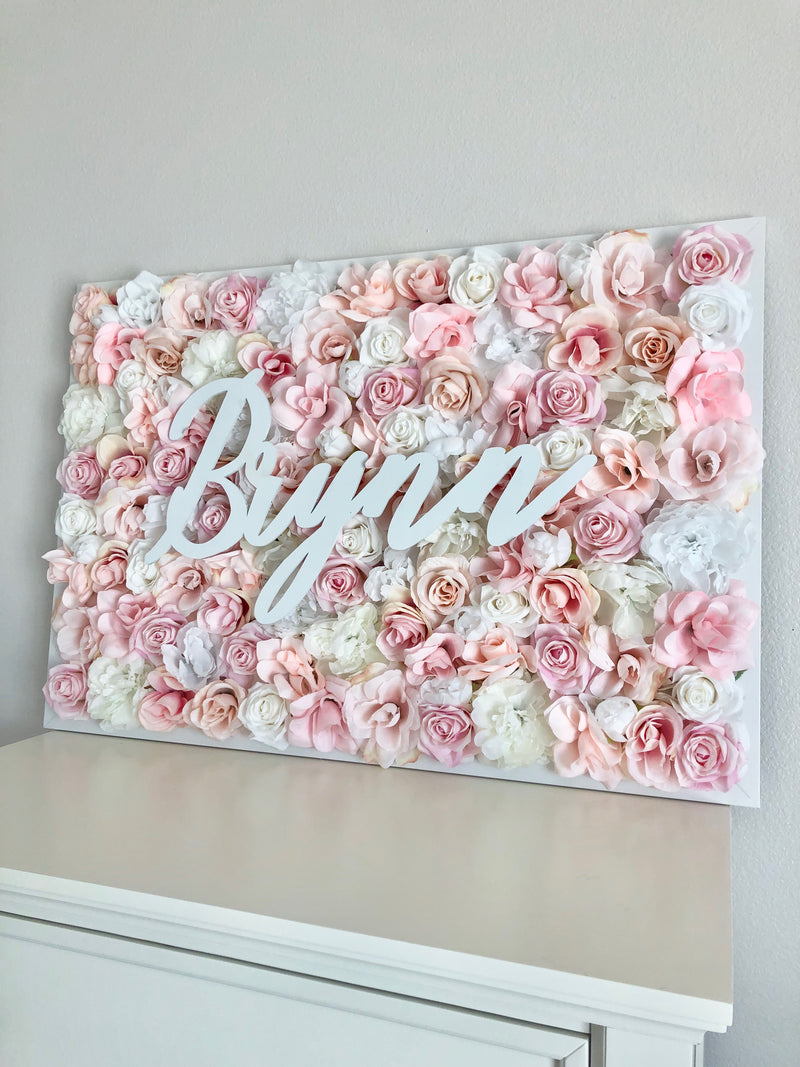 blush pink wall art flower wall blush flower wall peony flower wall flower wall nursery decor girl nursery decor name sign