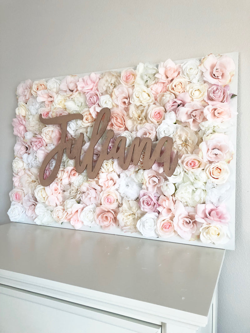 flower wall nursery decor girl nursery decor name sign pink and gold decor