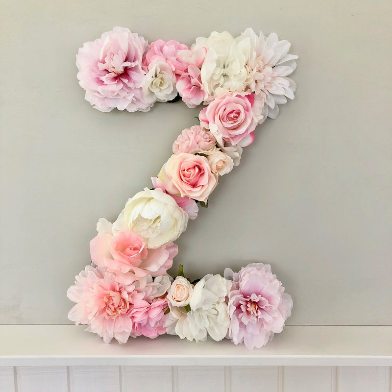 pink nursery decor baby name art baby name decor floral letter