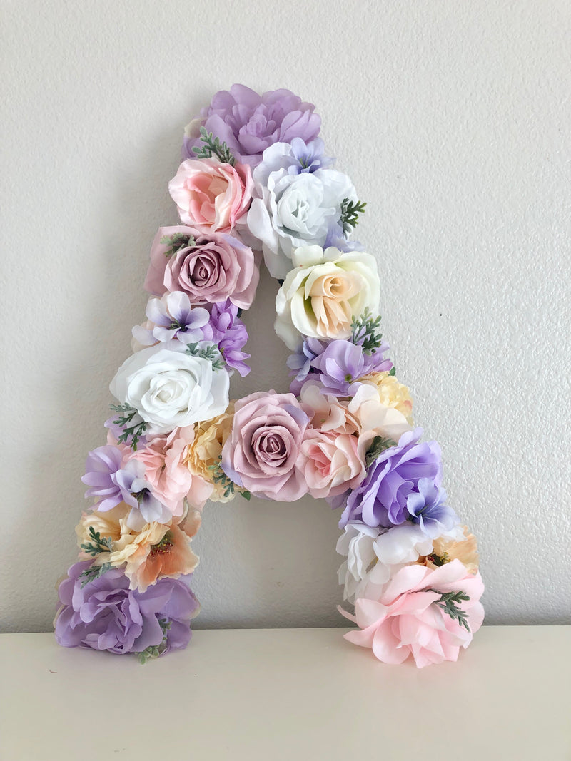 floral letter nursery decor girl name sign