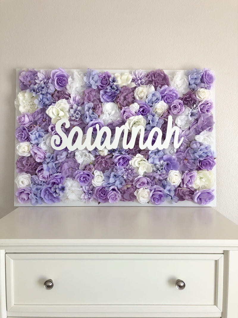 lavender nursery flower wall nursery decor girl nursery decor name sign