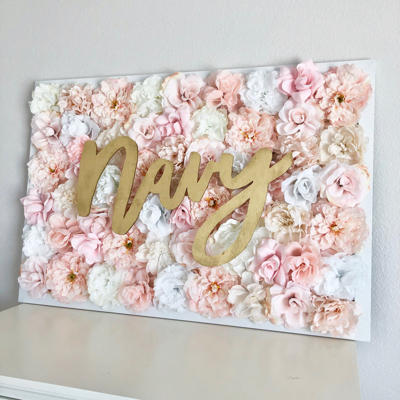pink and gold nursery flower wall nursery decor girl nursery decor name sign