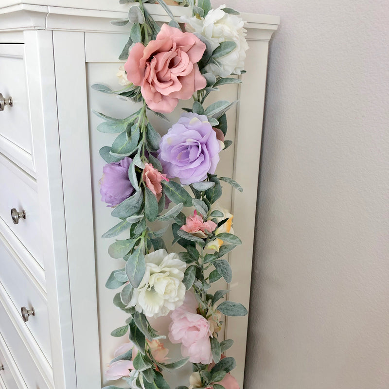 mauve and lavender nursery floral garland flower garland custom garland nursery decor baby shower decor bridal shower decor table decor