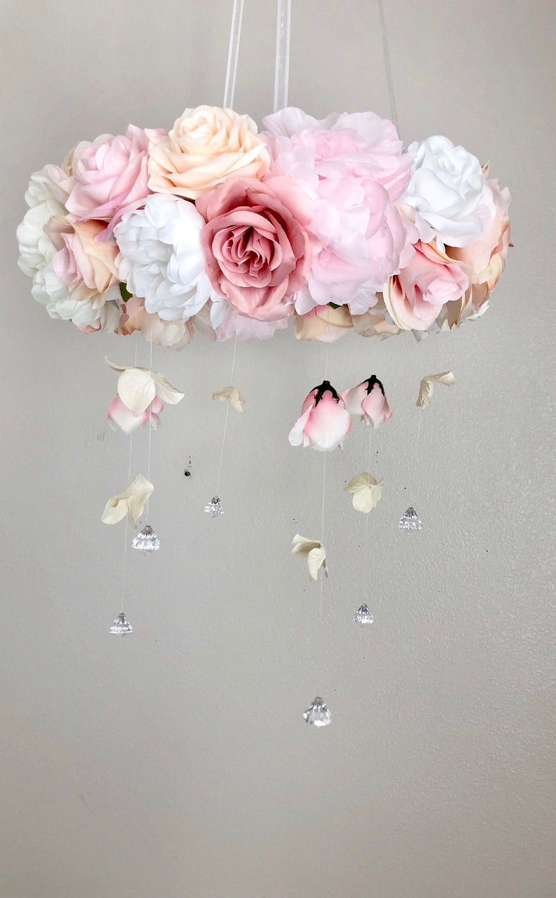 Pink Artificial flower Baby Mobile Girl for nursery