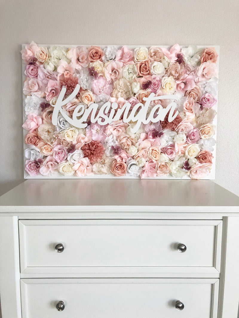 rose gold nursery flower wall nursery decor girl nursery decor name sign