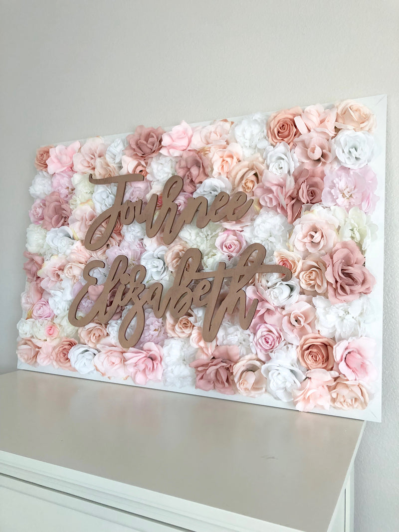 flower wall nursery decor girl nursery decor name sign rose gold nursery