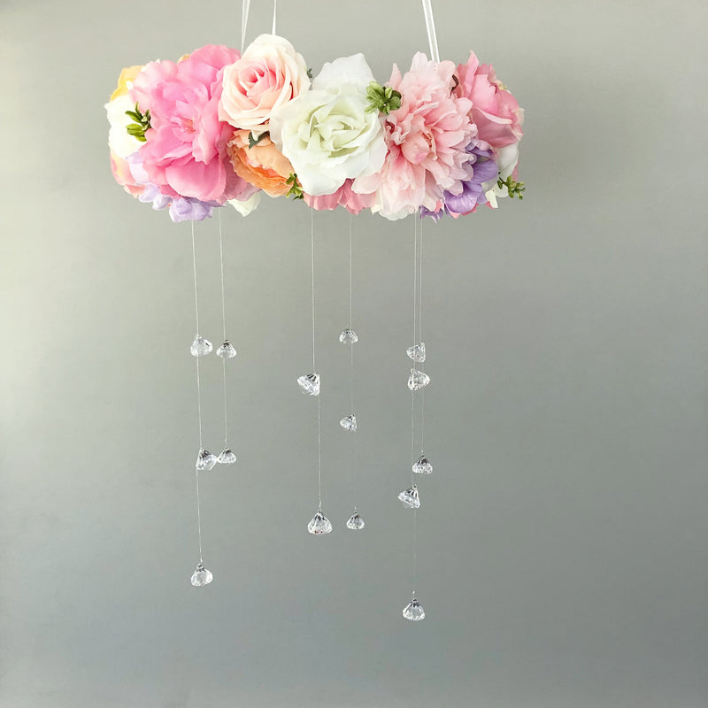 flower mobile floral mobile girl room decor floral nursery floral room decor