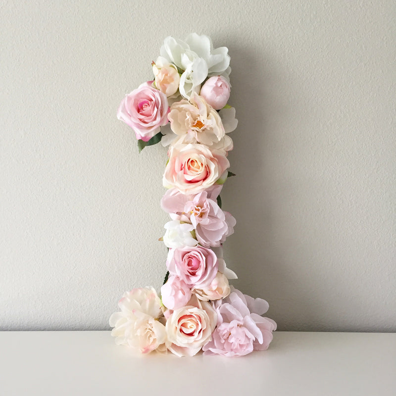 flower number floral number pink number decor birthday number