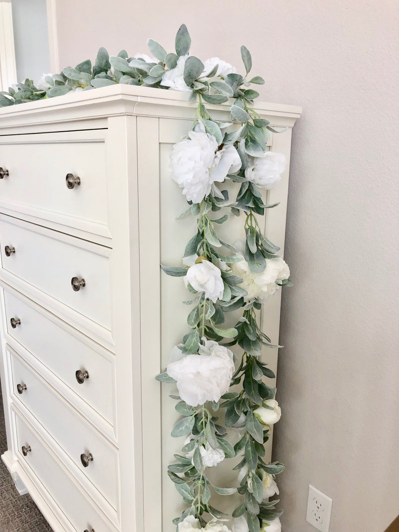 white garland lambs ear garland custom garland floral garland flower garland white baby shower decor white bridal shower decor white party decor white birthday party decor boho shower boho birthday