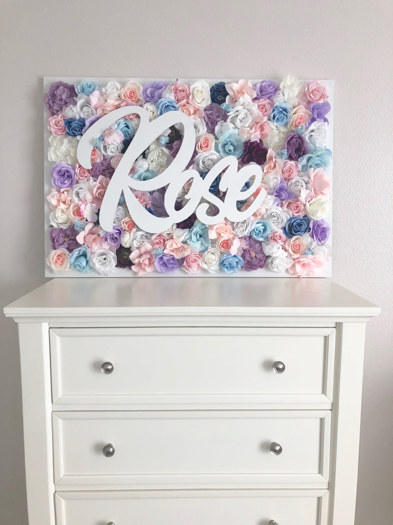 rose wall art flower wall flower name sign girl room decor teen girl room decor girl name sign makeover custom name sign