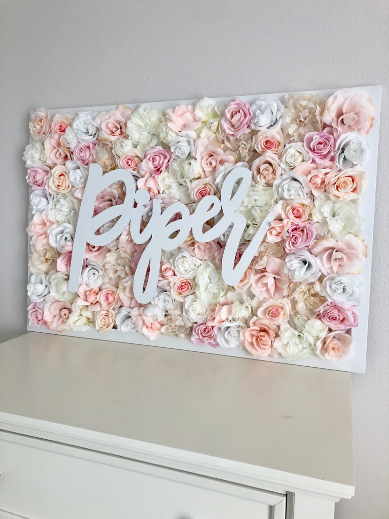 blush nursery decor blush and white blush and neutral decor flower wall name sign