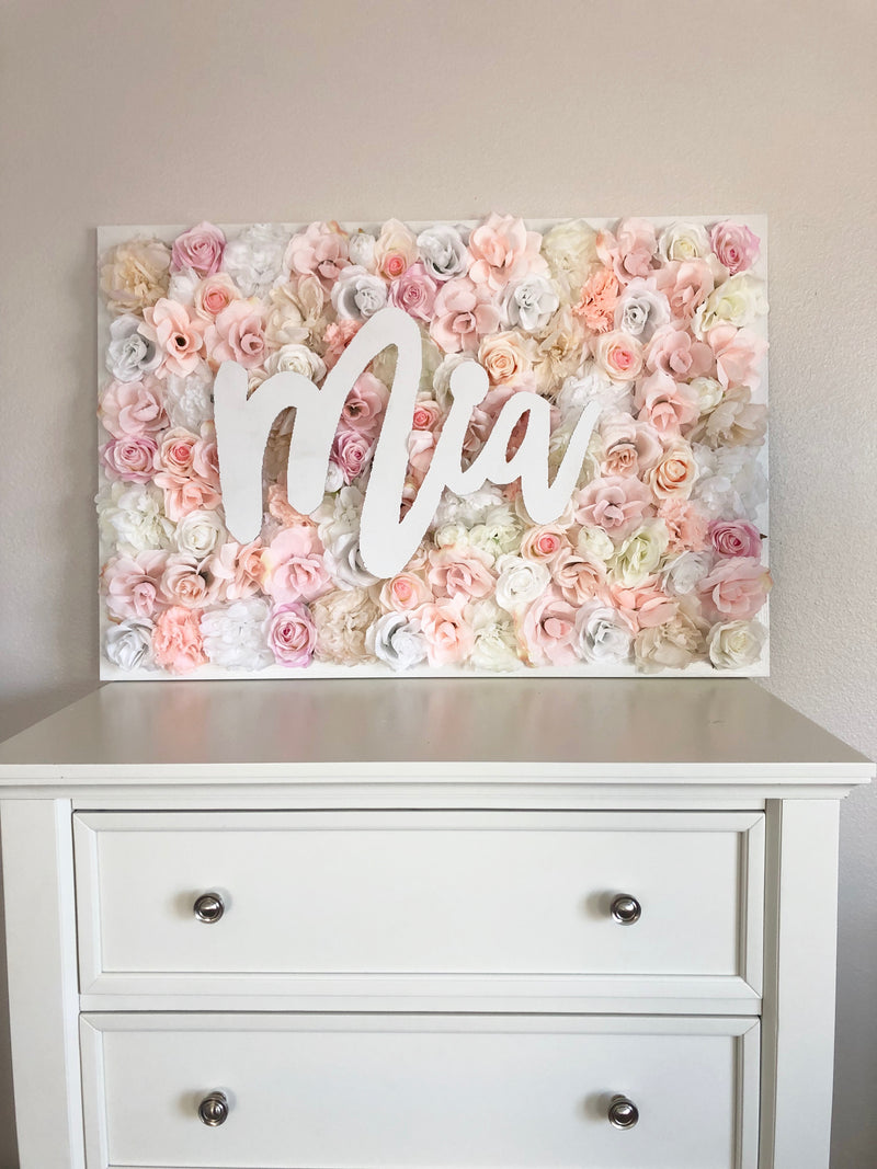 Custom Name Sign Blush Room Decor flower wall name sign birthday name sign floral birthday decor floral baby shower flower wall nursery decor girl nursery decor name sign