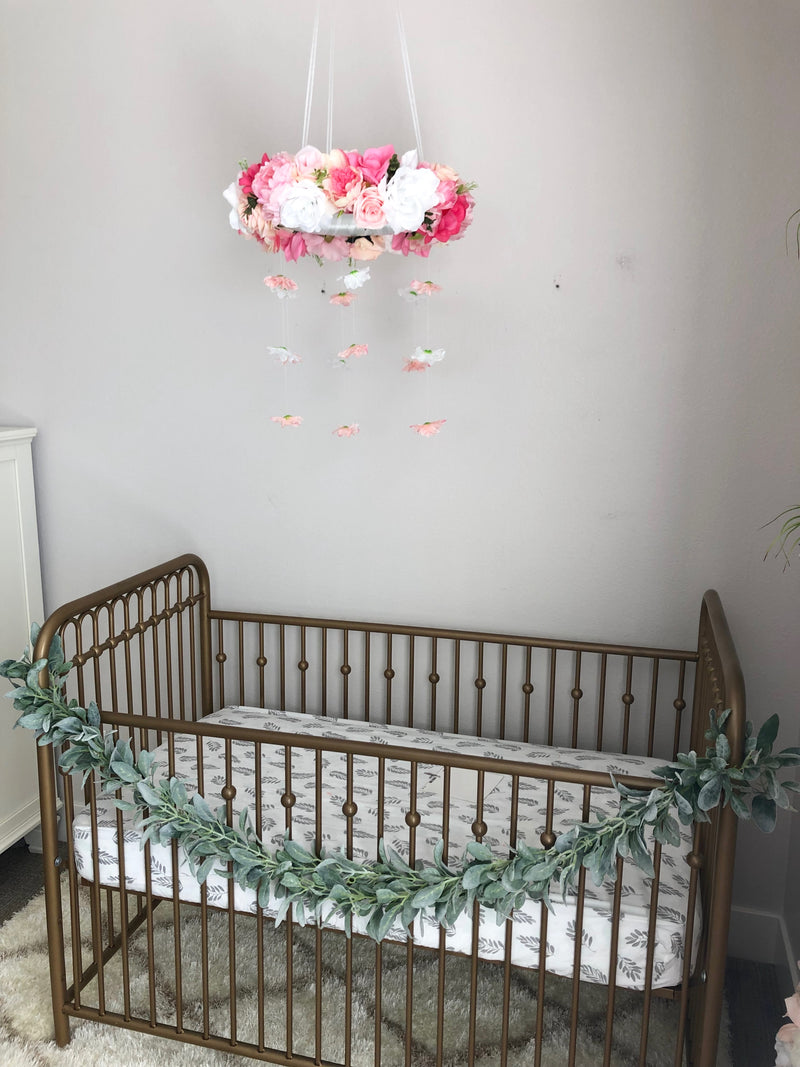 girl room decor girl nursery mobile crib mobile floral nursery