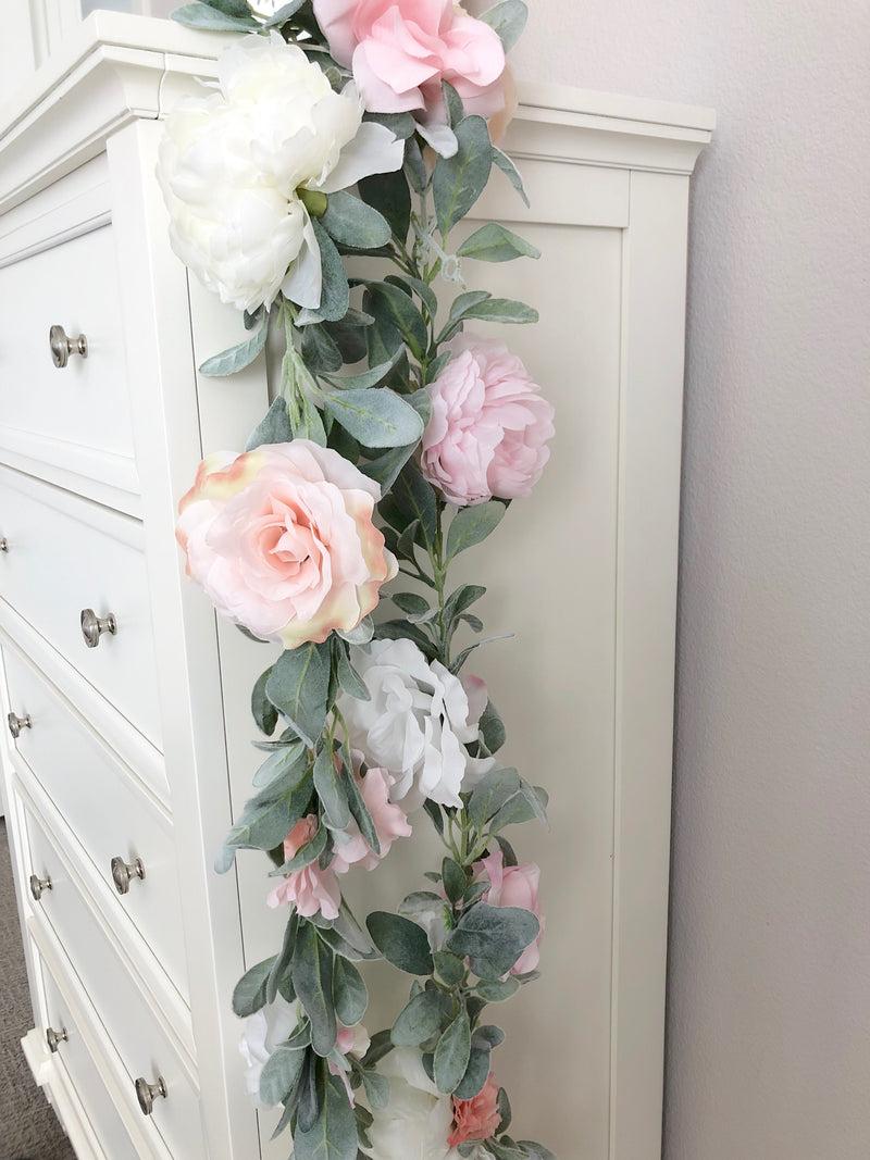 boho baby shower decor boho bridal shower decor floral garland flower garland custom garland peony garland rose garland
