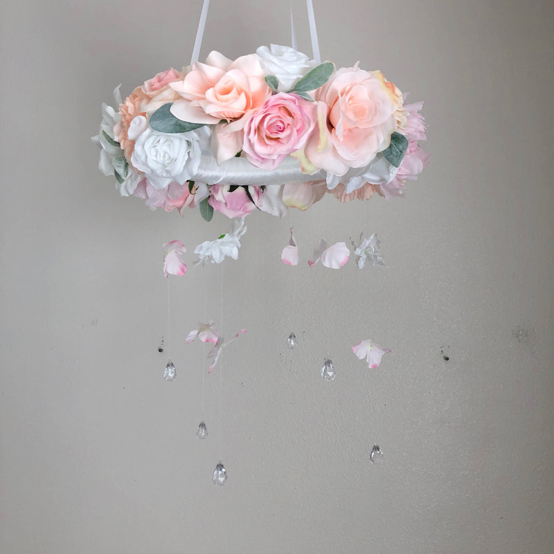 blush baby mobile crib mobile floral mobile flower mobile