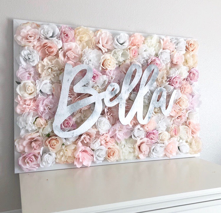 silver and blush nursery silver nursery blush nursery flower wall nursery decor girl nursery decor name sign