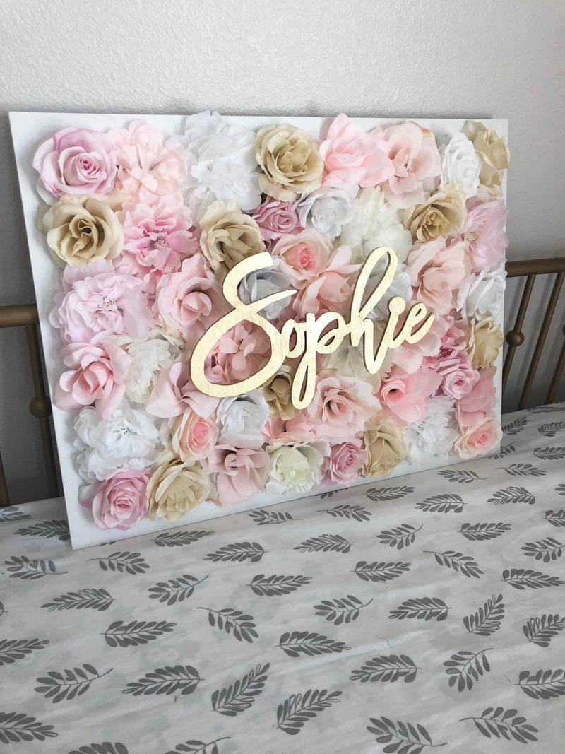 pink and gold nursery decor flower wall nursery decor girl nursery decor name sign