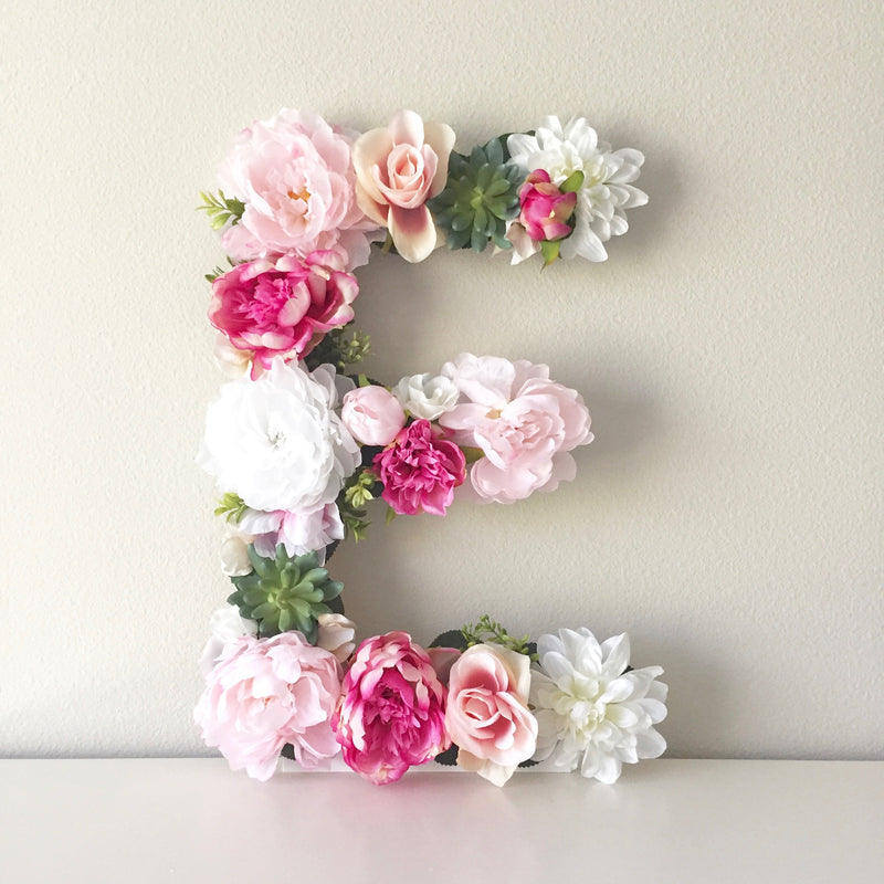 floral letter flower letter boho nursery pink girl room decor