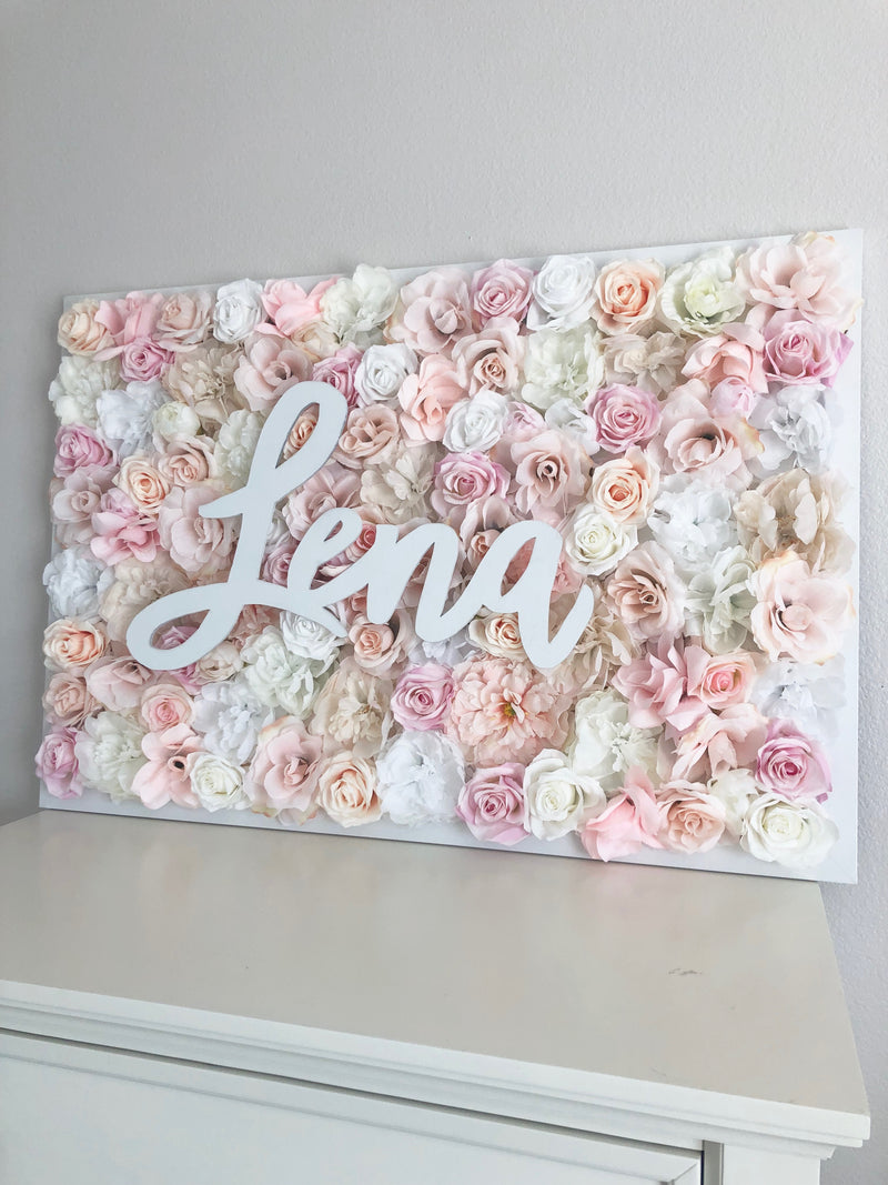 pale pink nursery decor name sign flower wall nursery decor girl nursery decor name sign