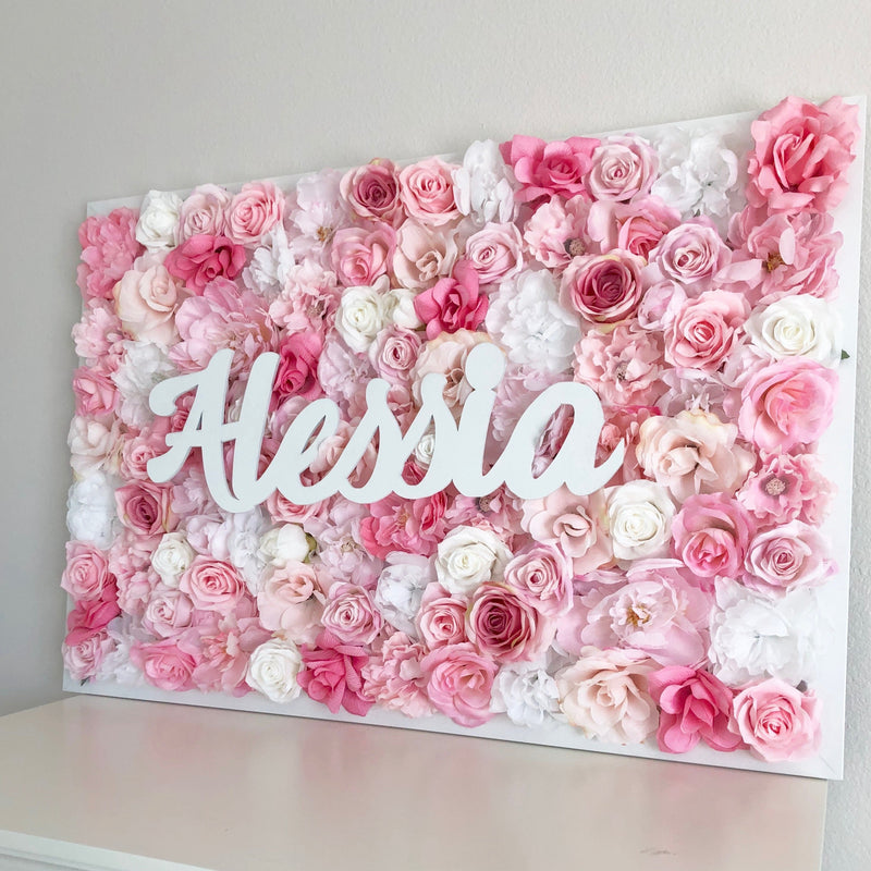 pink wall art name sign girl name sign flower wall nursery decor girl nursery decor name sign