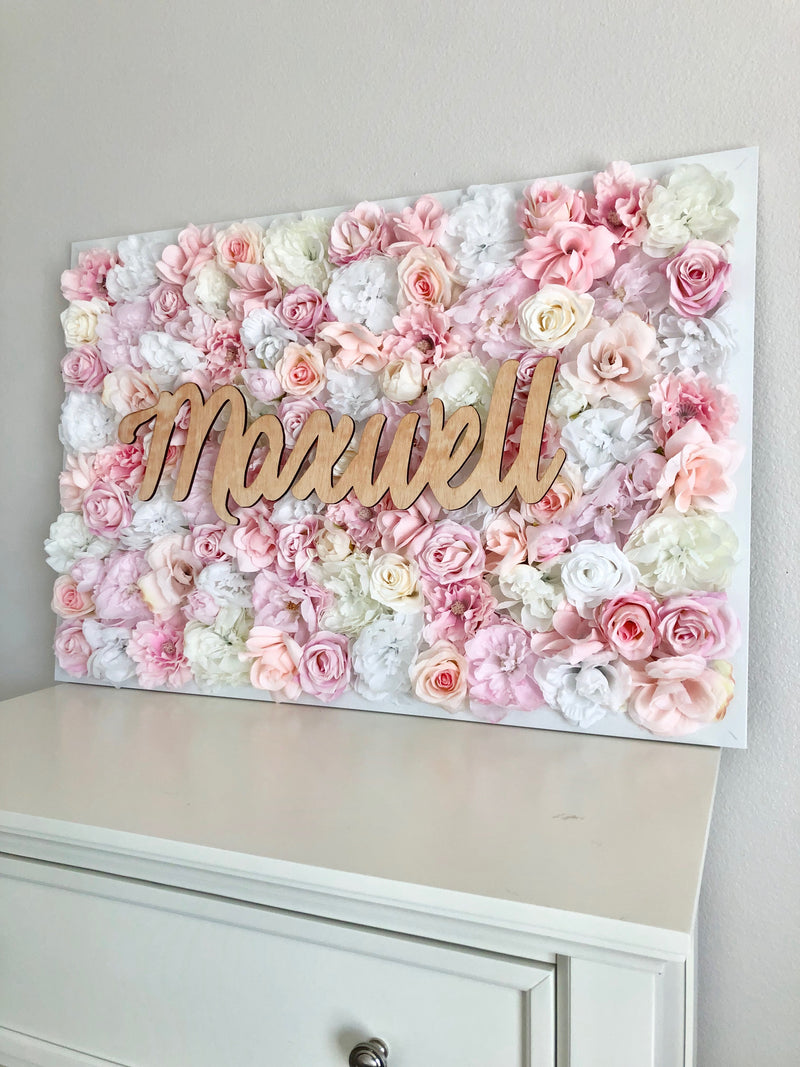 blush pink nursery decor flower wall