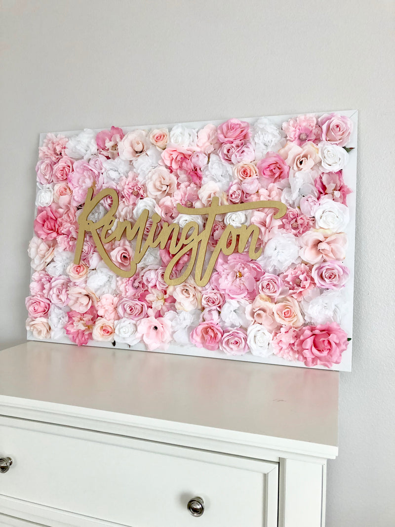 Pink and gold nursery pink and gold baby shower pink and gold wall decor gold and pink flower wall
