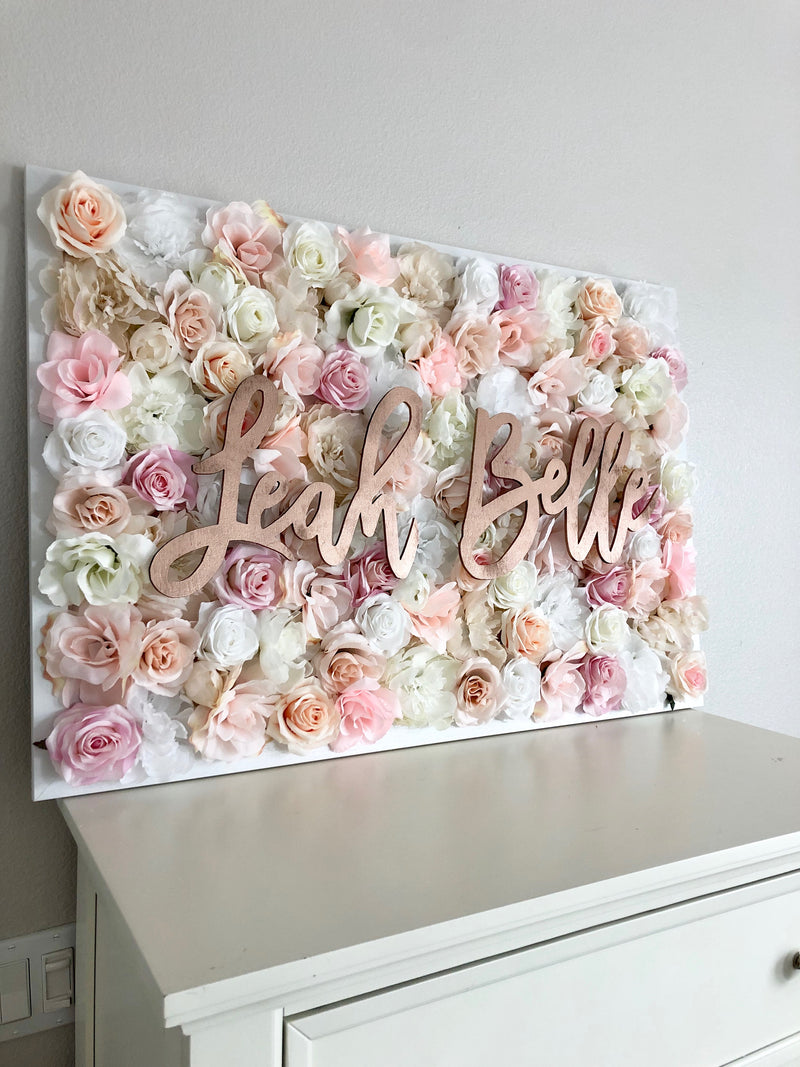 Rose gold nursery rose gold name sign flower wall rose gold room decor rose gold decor rose gold wall art