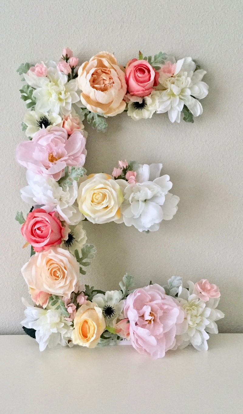 floral letter flower letter nursery decor shabby chic decor boho chic