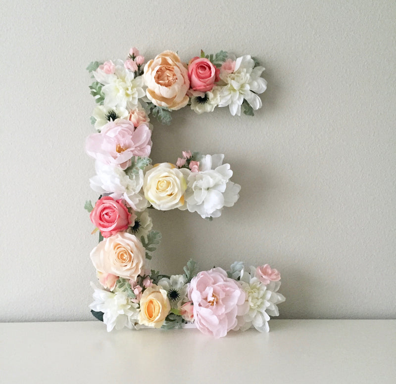 floral letter flower letter nursery wall art nursery name sign baby name sign baby shower decor bridal shower decor boho nursery shabby chic nursery