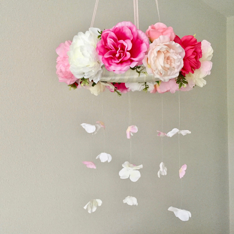 pink flower mobile floral mobile pink room decor girl