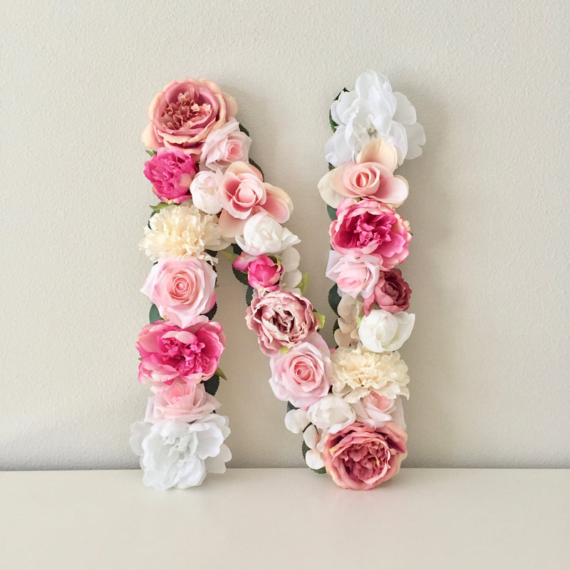 pink room decor floral letter wall sign