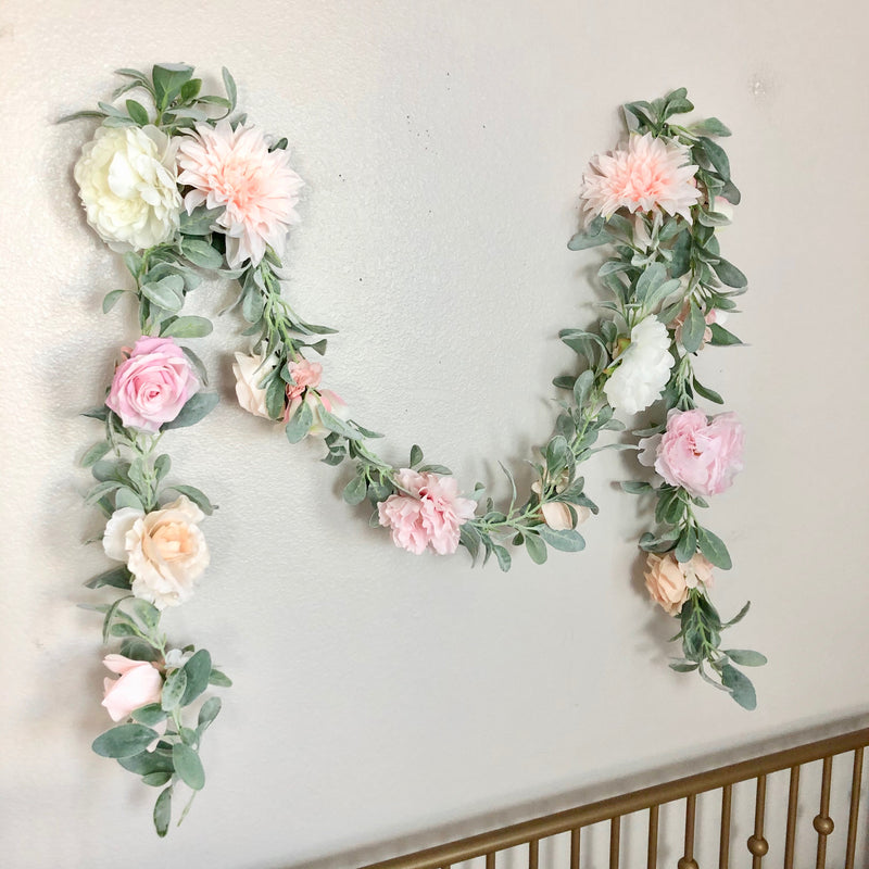 floral wall hanging flower wall hanging wall garland decor nursery girl decor