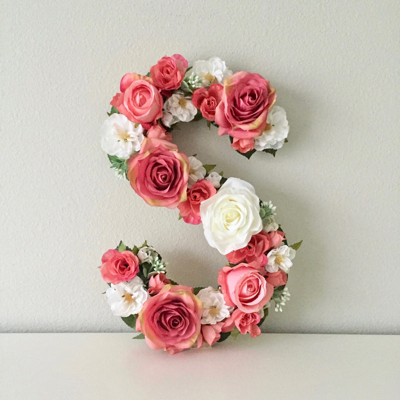coral wall art floral letter baby girl room decor