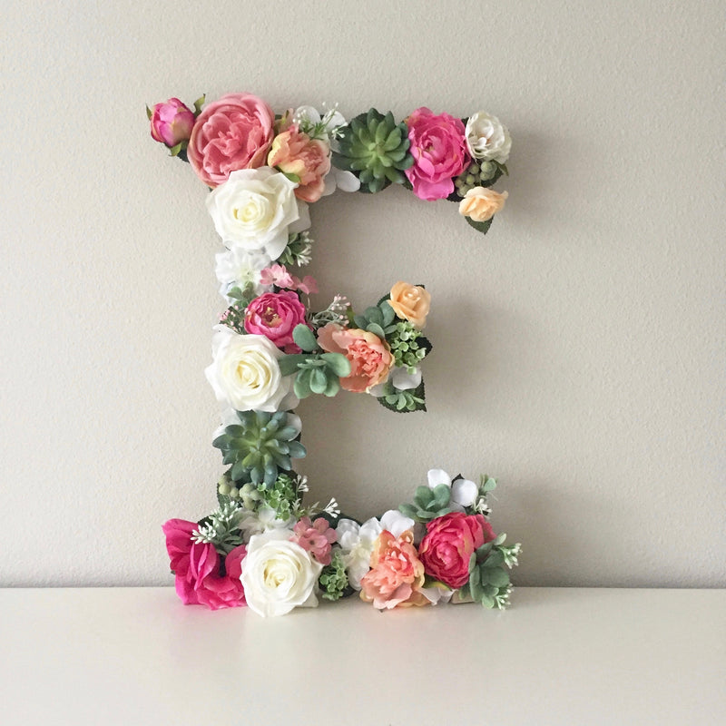 boho wall decor custom name sign floral letter flower letter succulent decor