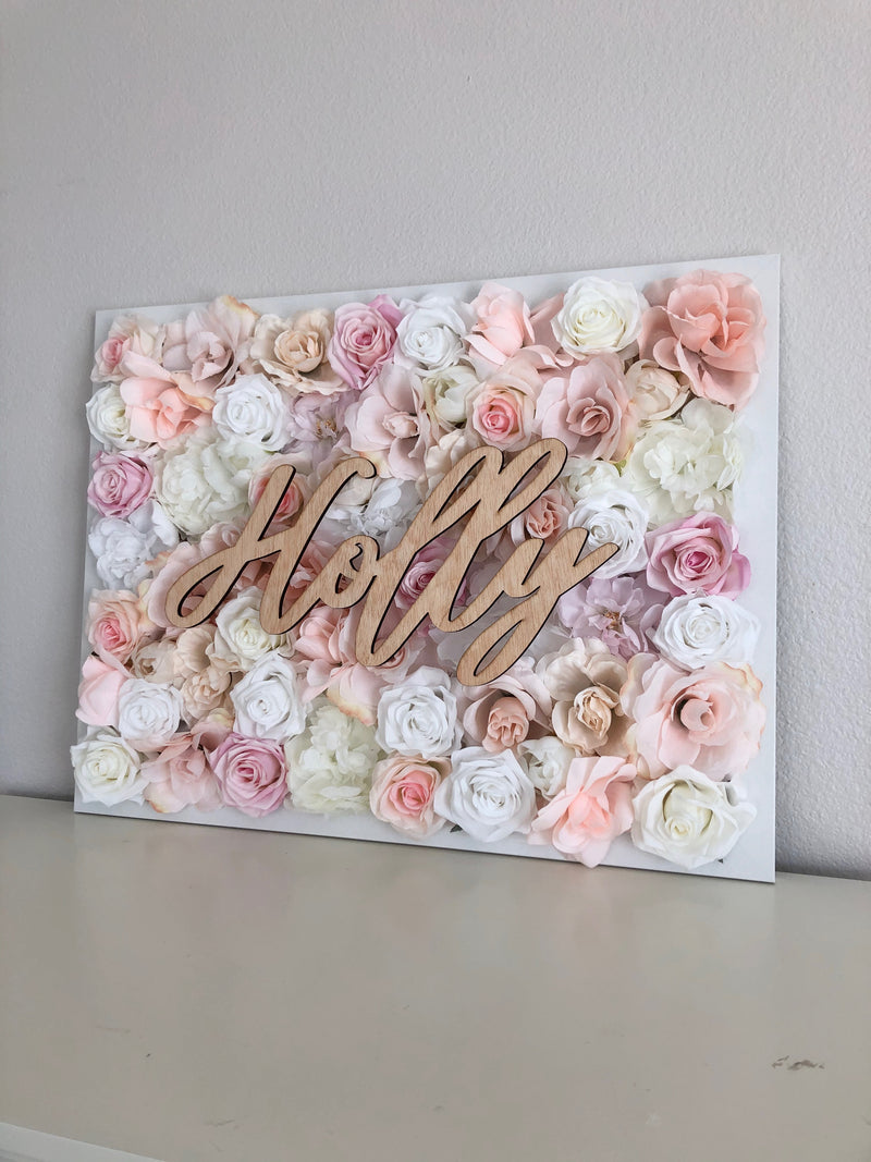 blush pink wall decor light pink wall decor flower wall peony wall rose wall rose girl name sign girl room decor birthday girl gift