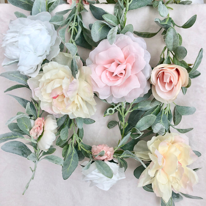 custom garland lambs ear garland peony garland rose garland blush garland