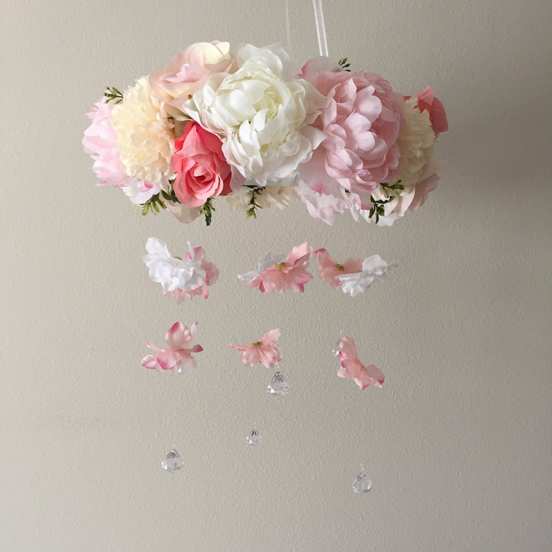 custom mobile girl nursery decor floral nursery