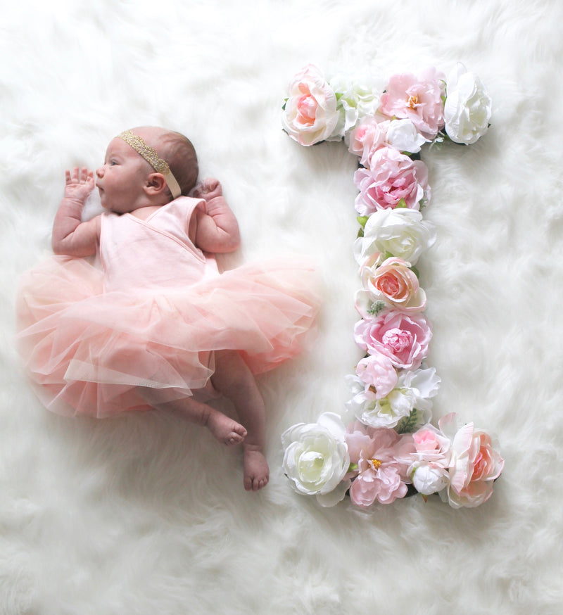 newborn photo prop milestone photo idea floral letter flower letter baby name sign girl nursery decor girl