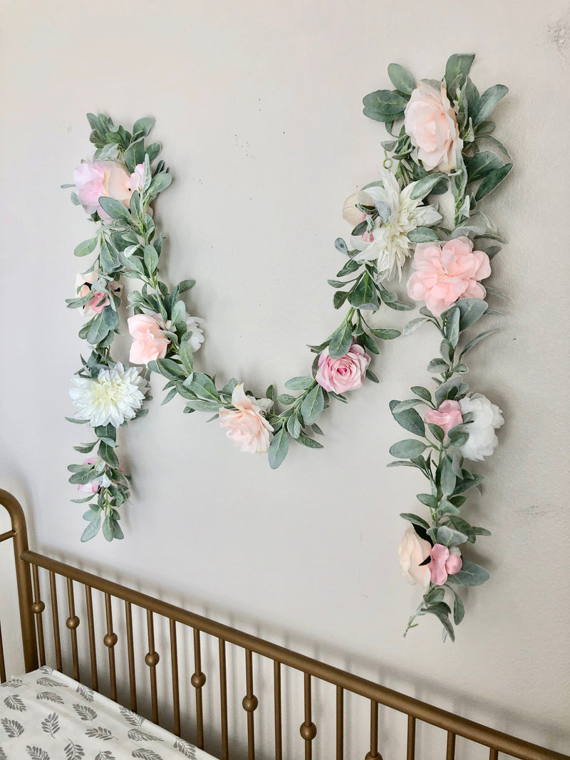 blush nursery decor floral garland custom garland flower garland peony garland baby shower garland bridal shower garland decor