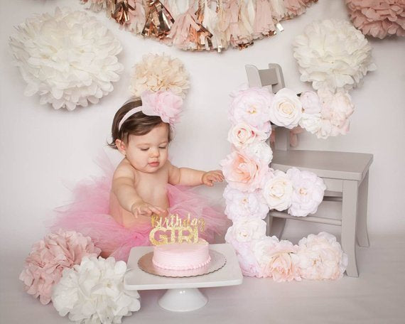 cake smash photo birthday photo prop birthday floral letter flower letter baby name sign girl nursery decor girl