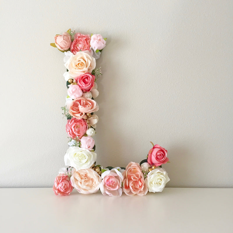 floral letter flower letter flower wall art nursery name decor baby shower decor floral bridal shower decor