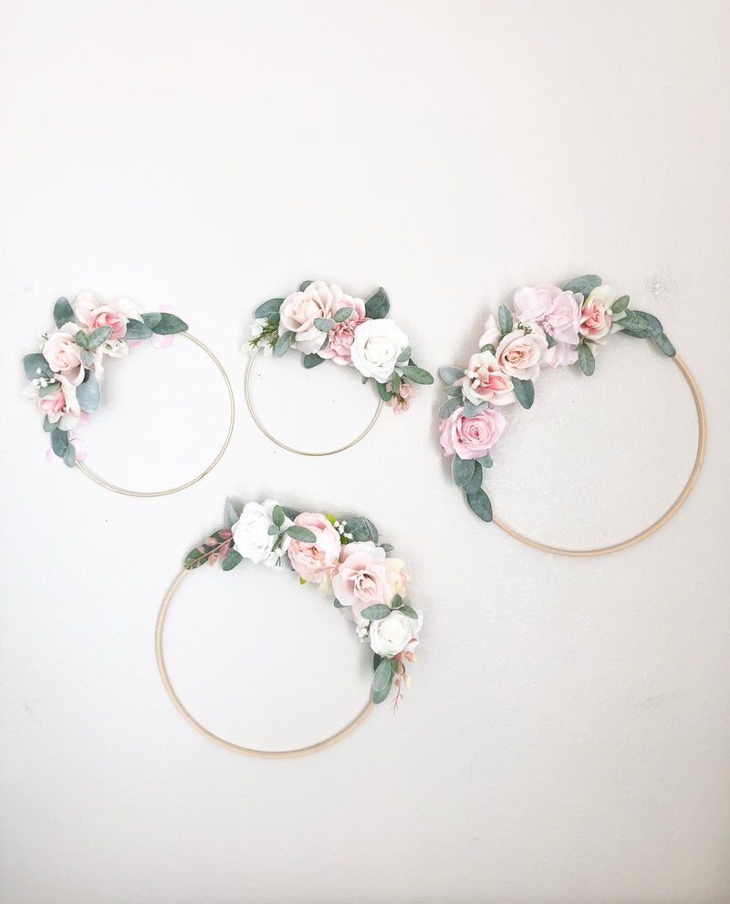 Floral Hoop Wreath, Nursery Floral Wreath, Nursery Wall Decor Girl, Photo Prop Wreath, Baby Shower Wreath Girl Nursery, Farmhouse Decor