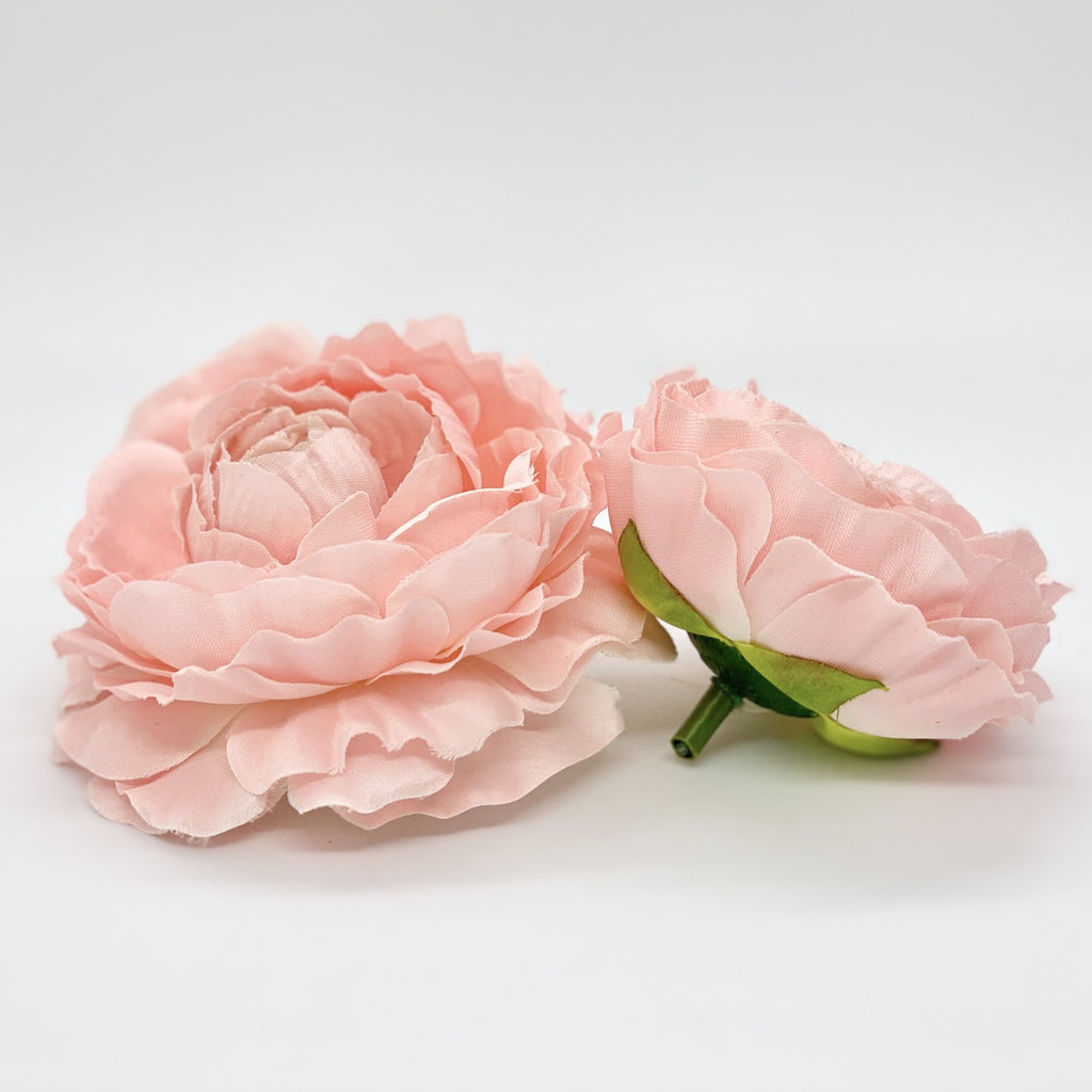 "4"" Peachy Pink Ranunculus Large Ranunculus Silk Flower Artificial Ranunculus Light Pink Silk Flower Ranunculus Wedding Flower Ranunculus"