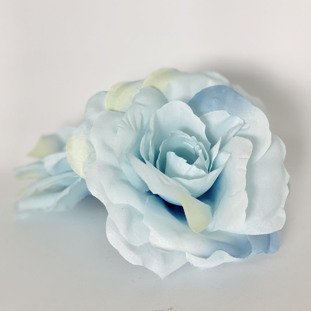 "5"" Large Light Blue Rose Pale Blue Artificial Rose Light Blue Silk Flower Rose Light Blue Flower Pale Blue Wedding Flower Blue Flower Cake"