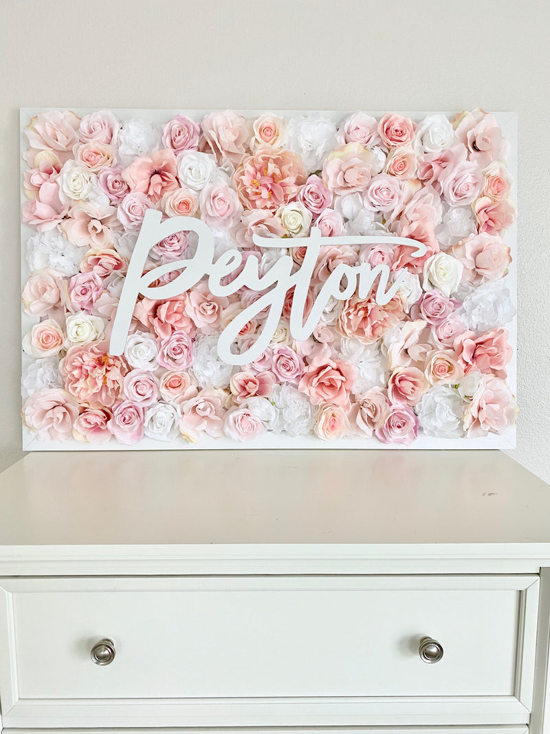 Blush Pink Flower Wall, Blush Pink Peony Decor, Peony Nursery Decor, Floral Letter, Flower Letter, Girl Nursery Name Sign Art, Personalized